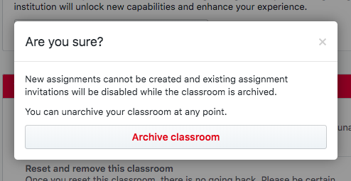 archive classroom modal