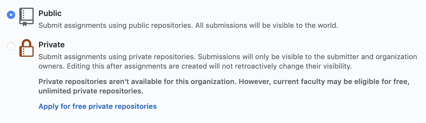 The options to make your repository public or private.